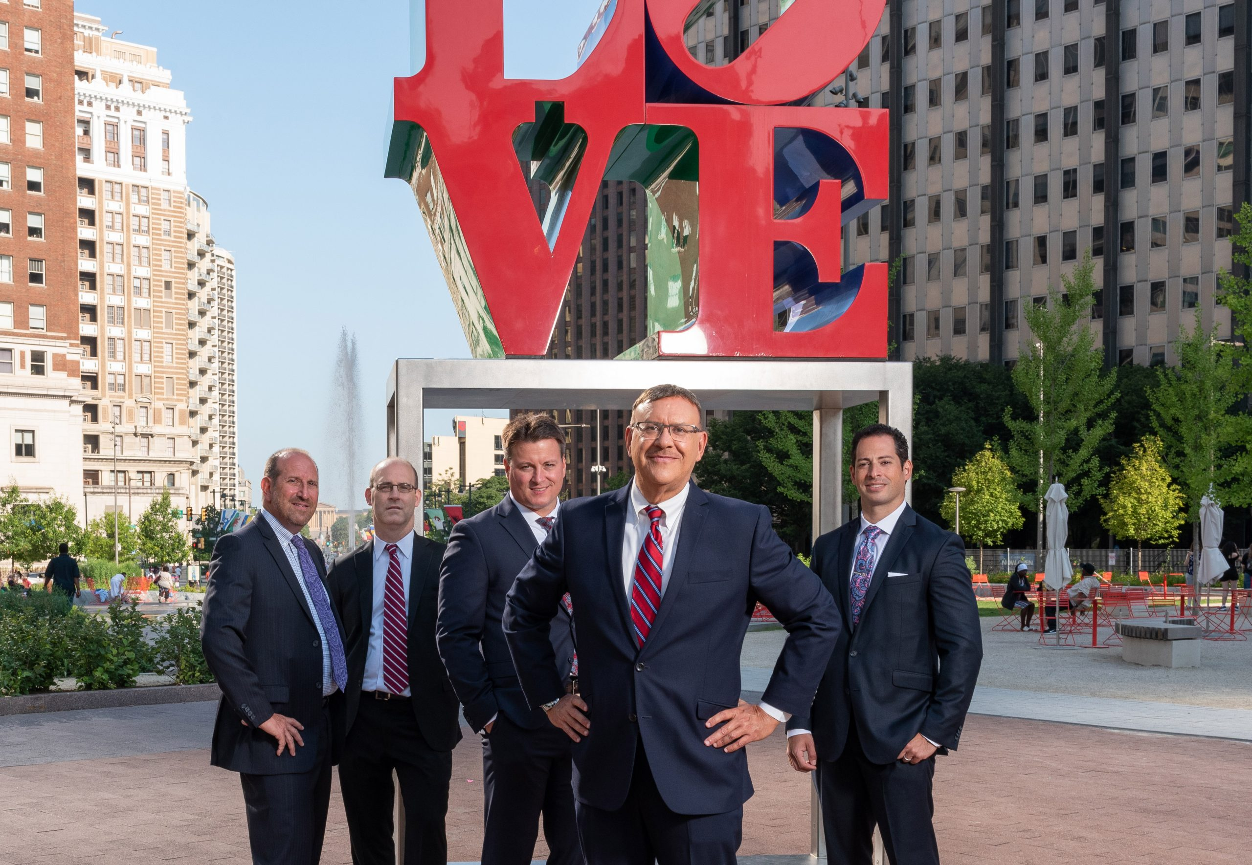 Spear Greenfield Car Accident Attorneys in front of Love Statue in Love Park in Philadelphia