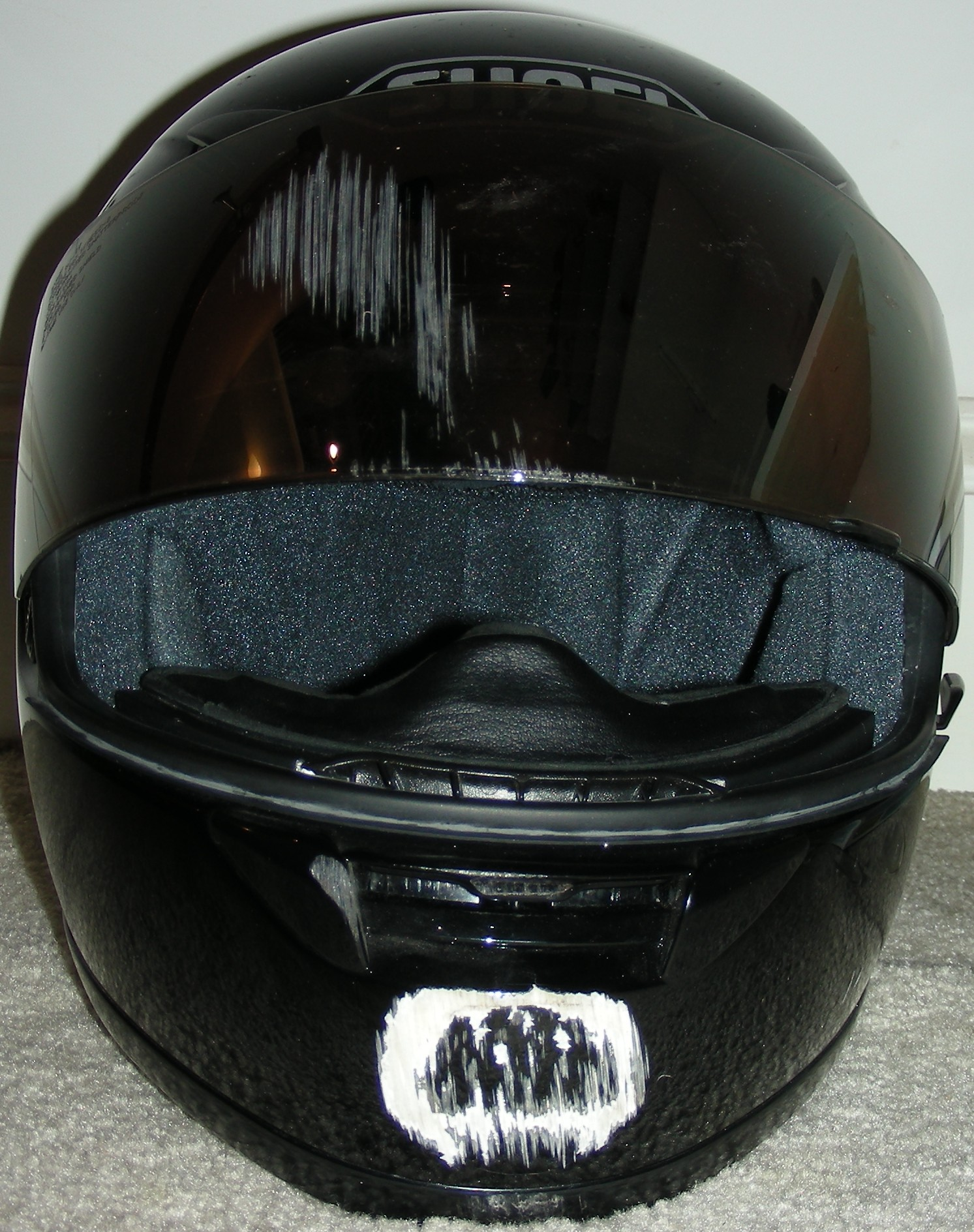 motorcycle helmet with damage after accident