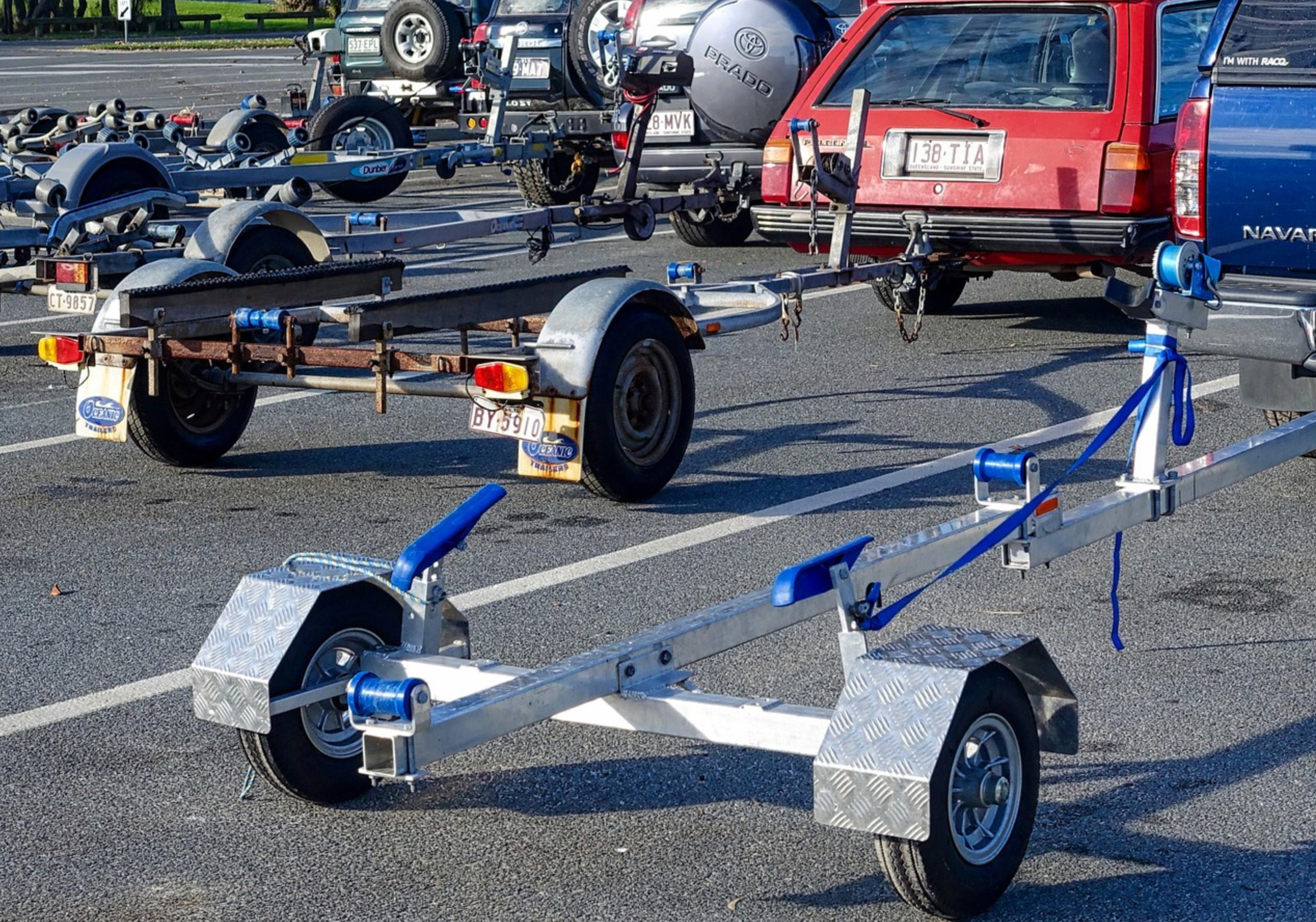row of boat trailers