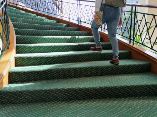person climbing stairs with carpet