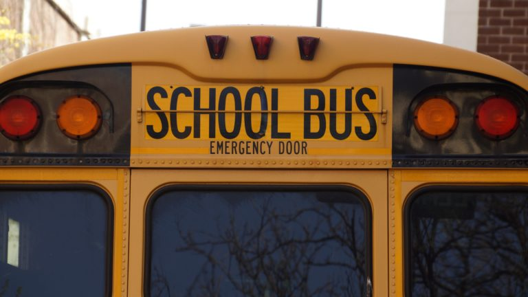 close up of back of school bus