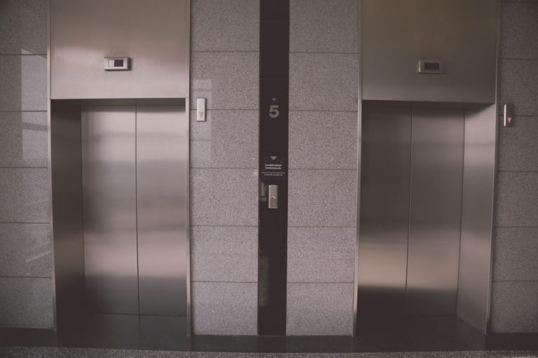two elevators in commercial building