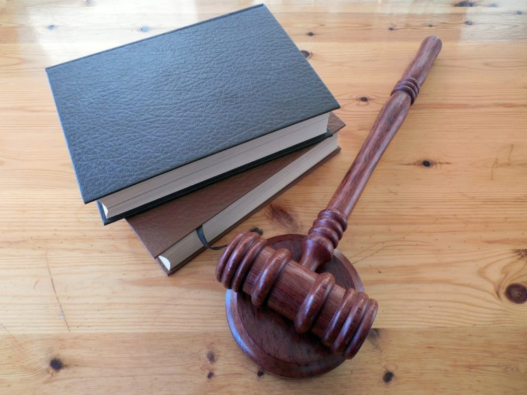 judges wooden gavel and two books