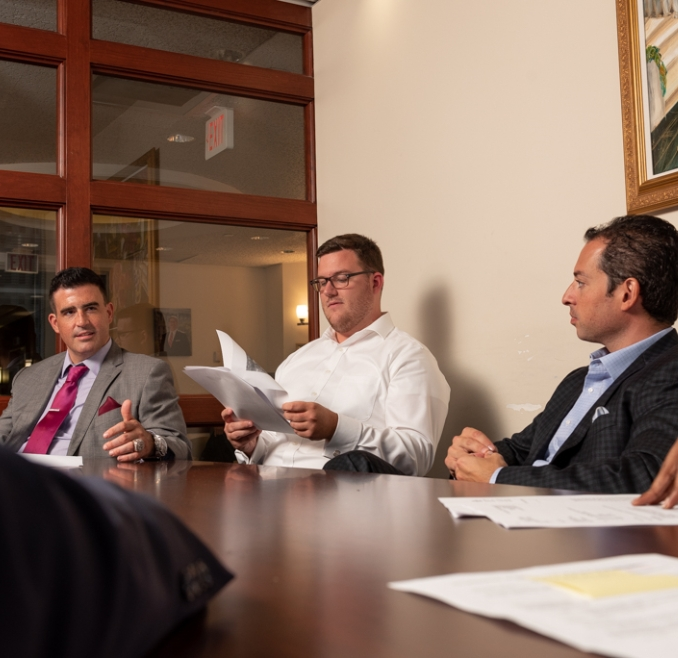 Spear Greenfield Personal Injury Attorneys Jeremy M Weitz and Michael G. Spear in meeting