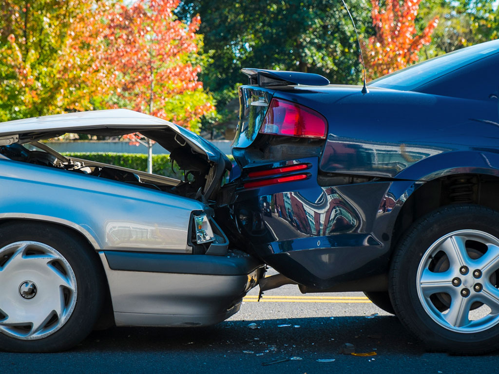 damaged vehicles after rear end auto accident