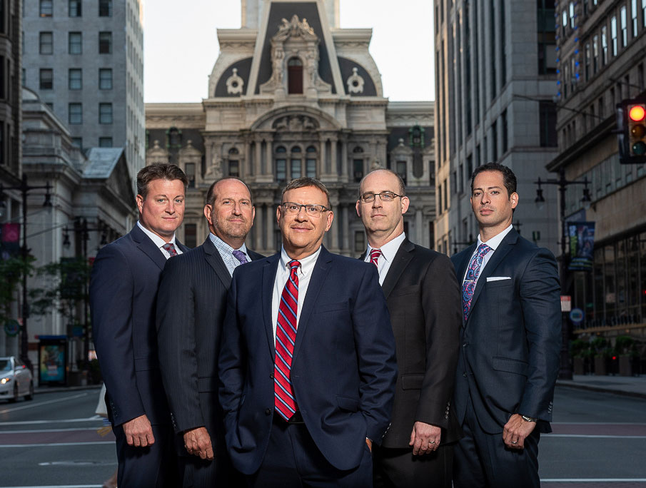 Spear Greenfield Personal Injury Attorneys legal team in front of Philadelphia's City Hall