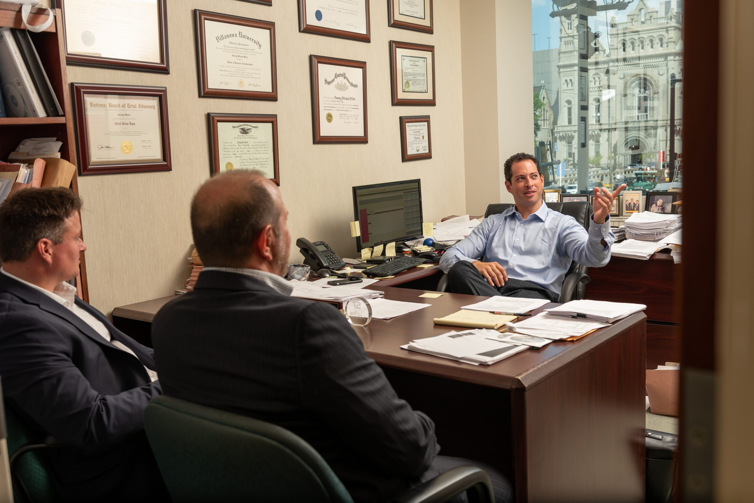 Jeremy M. Weitz, Esq. Spear Greenfield Personal Injury Attorney in office in a meeting