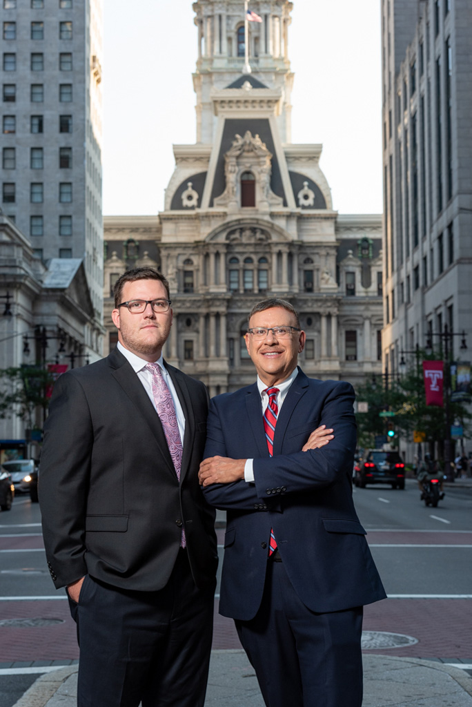 Rand and Michael Spear in front of Philly City Hall