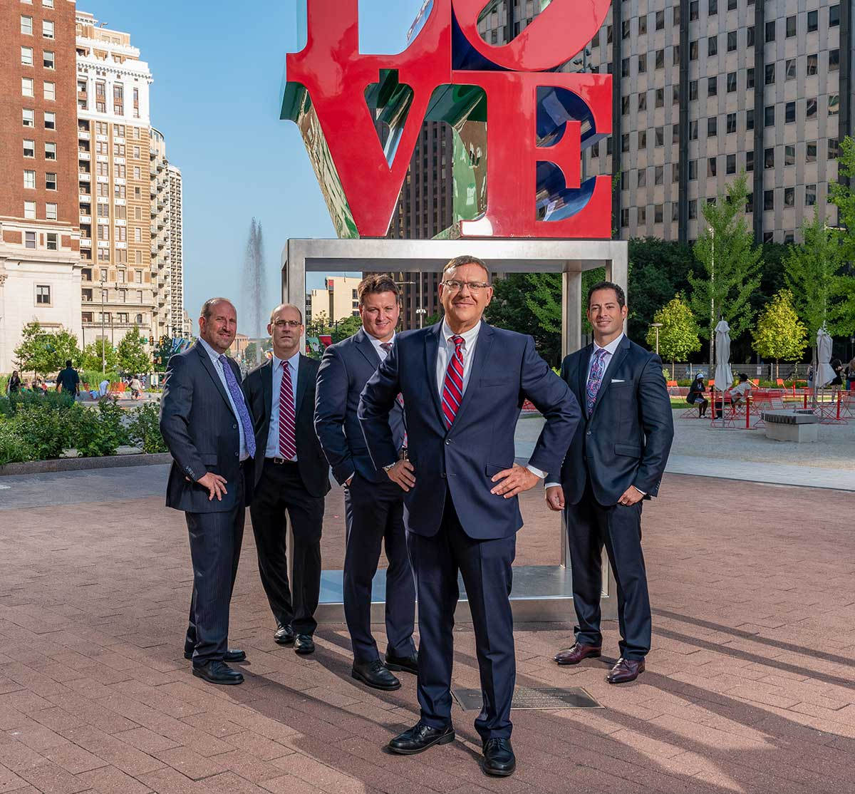 Rand Spear and Spear Greenfield Personal Injury Attorneys in front of Philly Love Statue