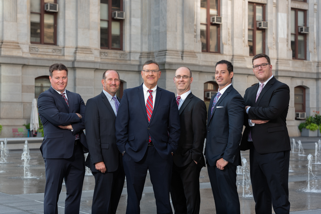 Spear Greenfield Personal Injury Attorneys legal team in front of Philadelphia City Hall