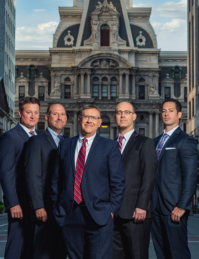Spear Greenfield Personal Injury Attorneys legal team in front of Philly City Hall